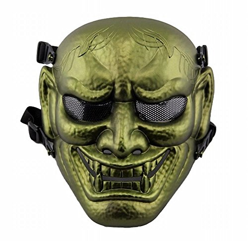 [POJ Japanese Hannya Mask [ Color Gold / Silver / Red / Green ] Japan Cosplay (Green)] (Rey Costume Pattern)