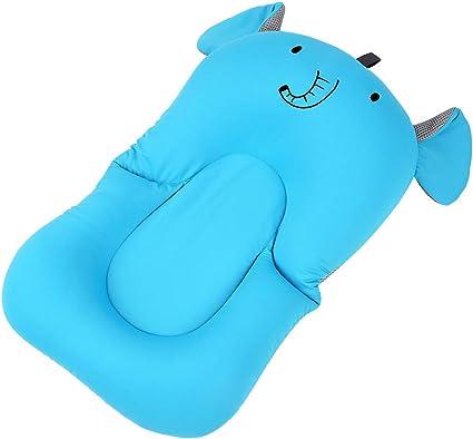 Coj/ín de ba/ño para reci/én nacido con almohadilla antideslizante para ba/ñera azul Azul Elefante UNAOIWN