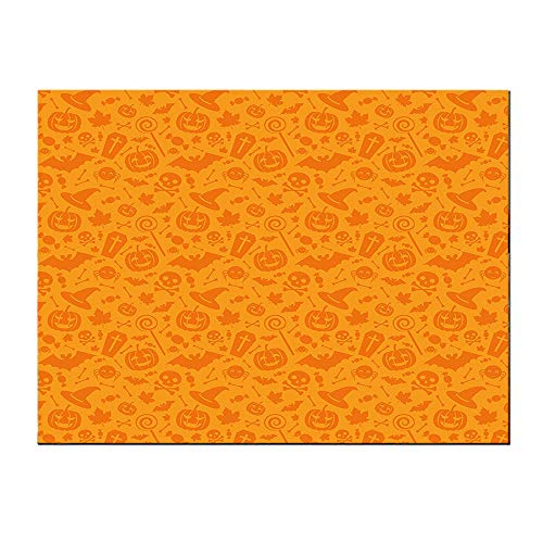 SATVSHOP Wall Art painting-16Lx16W-Monochrome Dign with Traditional Halloween Themed Various Objects Celebration Day Orange.Self-Adhesive backplane/Detachable Modern Decorative. -