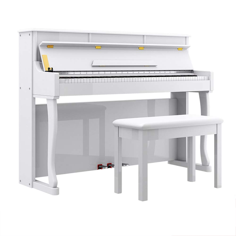 HBIAO Digital Piano, 88-Key Digital Home Piano Deluxe Bundle with Padded Bench Music Instruction Book for Kids Teen Adult Beginner,White by HBIAO