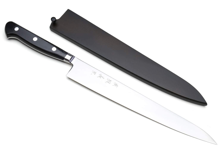 Yoshihiro High Speed Steel Sujihiki Slicer Knife (Black Pakkawood Handle) (10.5''/270mm) by Yoshihiro