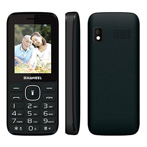 Haweel X1 2G Cellphones, 2.4' Screen GSM Unlocked Dual SIM Standby English Keyboard with Flashlight Super Big Speaker Camera FM Radio TF Card Mobile Phones for Kids Senior Elderly(Black)