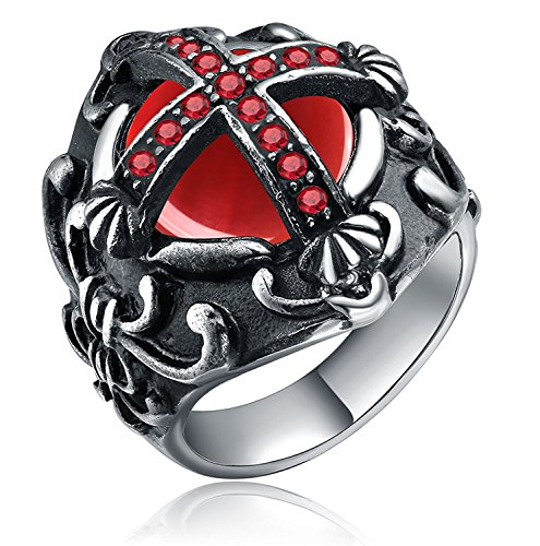 316l Men's Silver Black Stainless Steel Red Cz Agate Vintage Cross Knight Fleur De Lis Engraved Oval Ring, Size 8-13 (13) - 10 Oval Mens Ring Setting