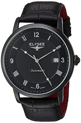 ELYSEE Men's 'Classic-Edition' Automatic Stainless Steel and Leather Casual Watch, Color:Black (Model: 77007)