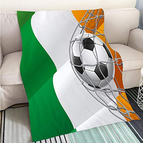 Super Soft Flannel Thicken Blanket Irish Sports Theme Soccer Ball in a Net Game Goal with Ireland National Flag Victory Win Multicolor Hypoallergenic - Plush Microfiber Fill - Machine Washable