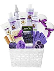 Deluxe XL Gourmet Gift Basket with Essential Oils. 20-Piece Luxury Spa Gift Set with Bath Bombs, Body Lotion, Bubble Bath & More! Huge Gift Set for Her, Holiday Gift (Lavender & Coconut)