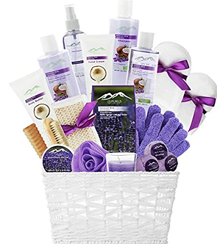 Deluxe XL Gourmet Gift Basket with Essential Oils. 20-Piece Luxury Spa Gift Set with Bath Bombs, Body Lotion, Bubble Bath & More! Huge Gift Set for Her, Holiday Gift (Lavender & Coconut) by Purelis
