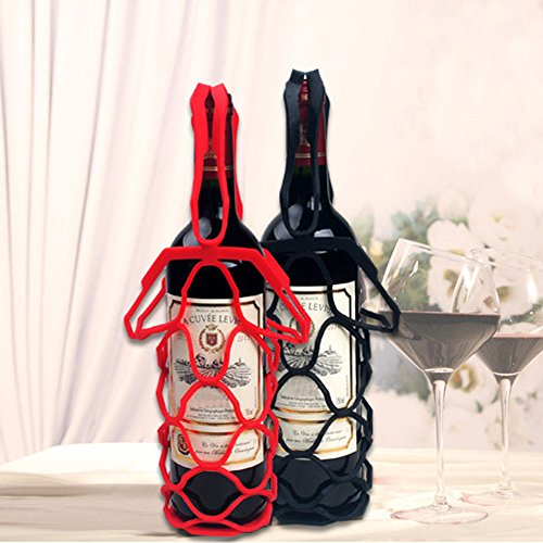 Euone Fashion Red Wine Bottle Holder Silicone Wine Bottle Nets Bags Mention Holder (Red Wine Halloween Punch)