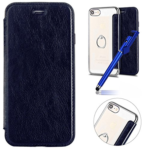 iPhone 6s Plus Case,iPhone 6 Plus Leather Wallet Case,MoreChioce Luxury Silver Blue Rhinestone Proctive Flip Case Clear Back Cover with Ring Holder Kickstand pour Apple iPhone 6 Plus / 6s Plus 5,5 '''
