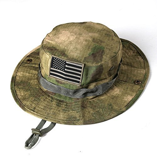 massmall Military Tactical Head Wear Boonie Hat Cap with USA Patch For  Wargame ca4aef19af3