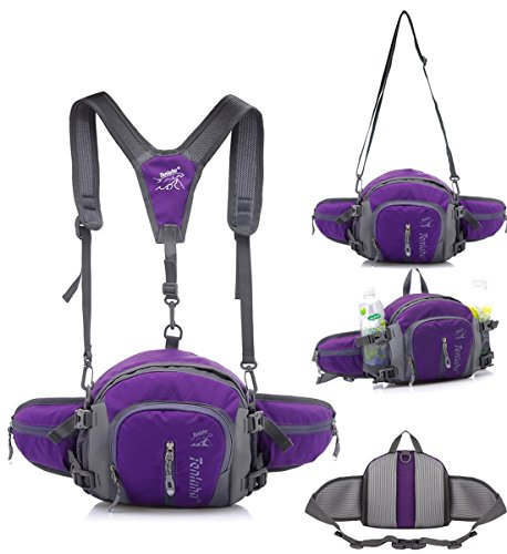 TOP-UP Multifunctional Water Resistant Outdoor Waist Pack Backpack Shoulder Bag Daypack with Water Bottle Pockets Waist Bag Fanny Pack for Running Hiking Camping Cycling Traveling (Purple-1)