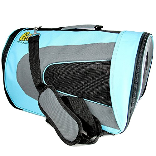 Pet Magasin Soft-Sided Cat Travel Carrier - Pet Travel Kennel with Airline-Approved & Foldable Feature for Cats, Small Dogs Puppies & Rabbits ()
