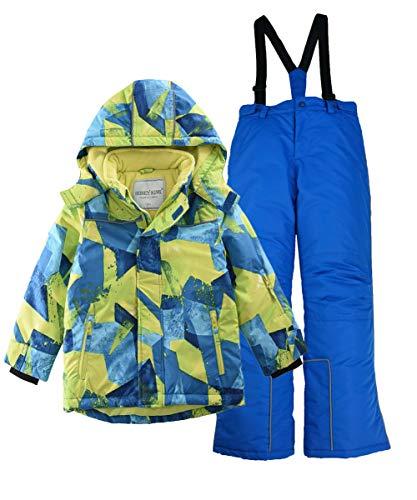 M2C Boys Thicken Warm Hooded Striped Ski Snowsuit Jacket & Pants (Gradient Color, 11/12) (With Coat Bib)