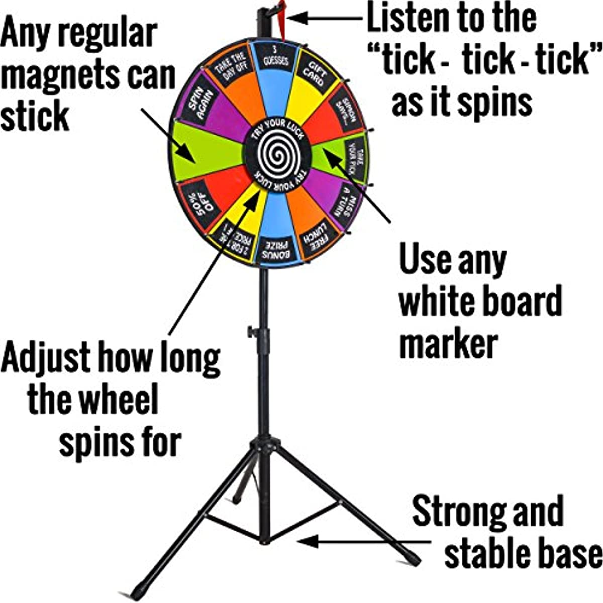 "24"" Round Color Spinning Prize Wheel Spin to Win Game Kit Editable Magnetic  Board with Dry Erase Marker and Stand"