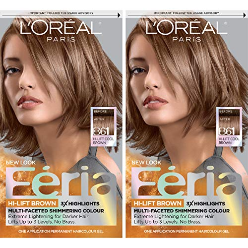 L'Oréal Paris Feria Multi-Faceted Shimmering Permanent Hair Color, B61 Downtown Brown, 2 COUNT Hair Dye (Best Box Color To Lighten Dark Hair)