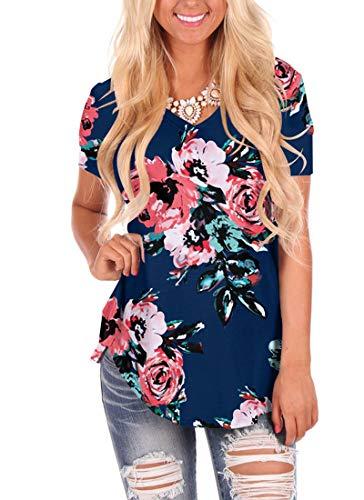 WFTBDREAM Womens Loose Curved Hem T Shirt V Neck Long Sleeve Floral Navyblue XL