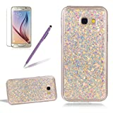 Glitter Case for Samsung Galaxy A7 2017,Girlyard Crystal Crystal Luxury Bling Shinning Design Soft TPU Ultra-thin Flexible Rubber Transparent Bumper Shockproof Resistant Protective Phone Case for Samsung Galaxy A7 2017 -Purple