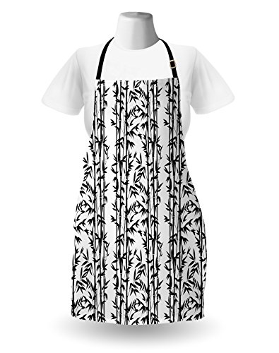Lunarable Bamboo Apron, Monochrome Natural Inspirations with Bamboo Tree Growth Exotic Garden Zen Spa Art, Unisex Kitchen Bib Apron with Adjustable Neck for Cooking Baking Gardening, Black White by Lunarable (Image #1)