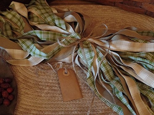 Primitive Tags (50 Homespun Fabric Strips~Cinnamon~Vanilla Scented Hang Tag~Green Grass Collection~1/2