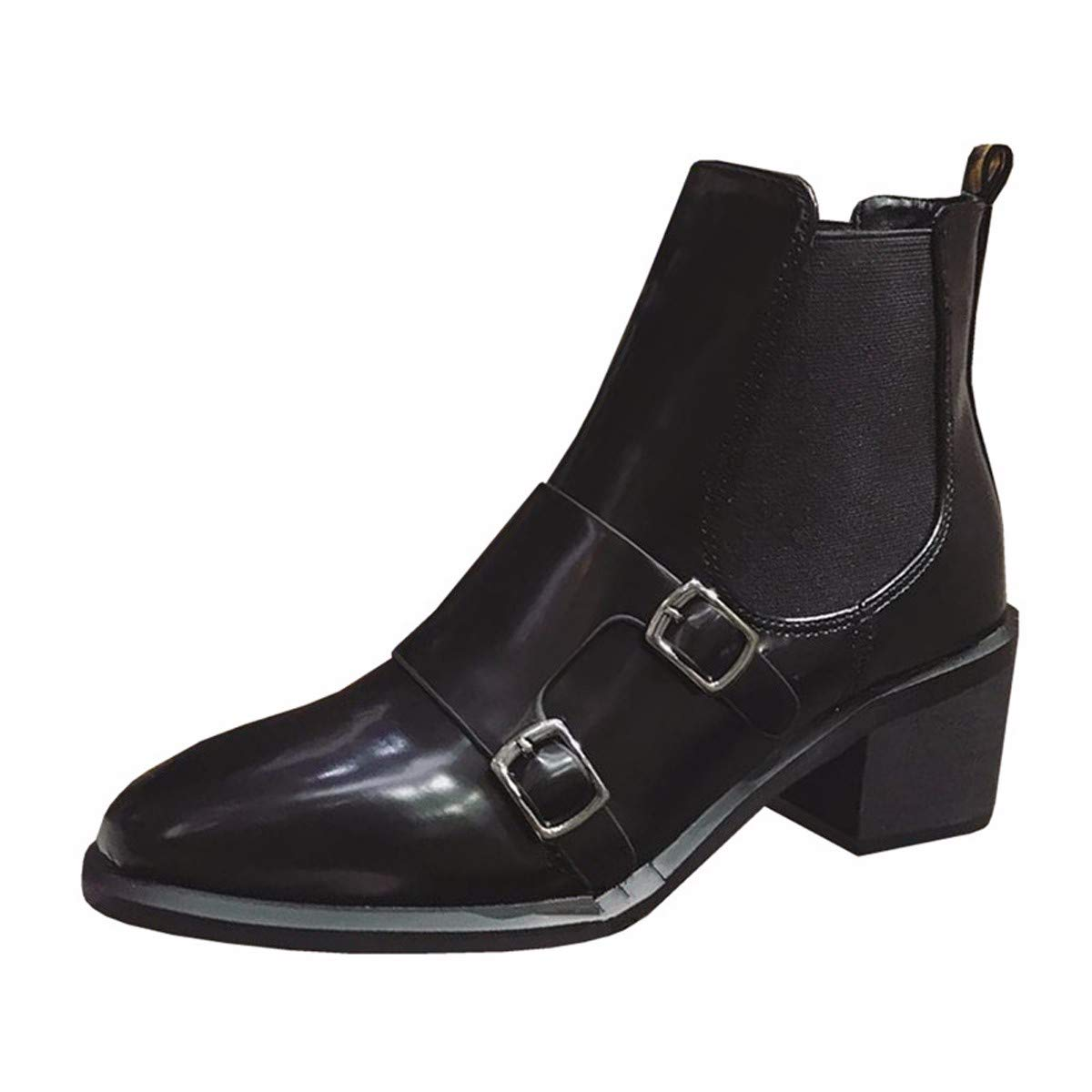 LBTSQ Fashion Damenschuhe Gürtel Chelsea Stiefel Absatz 5 cm Hohen Runden Kopf Dicke Sohle Stiefel Samt Schwarze Stiefel Lokomotive