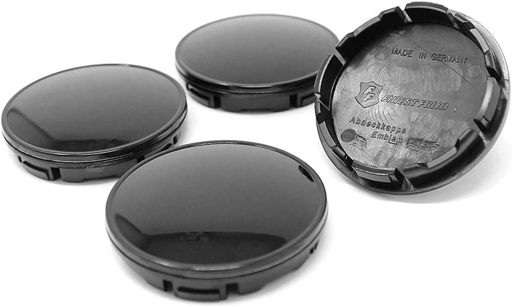 Lot de 8 Cache-moyeux en Plastique ABS sans Logo Noir Brillant 56 mm