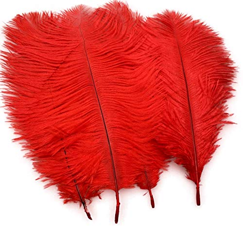 Sowder 20pcs Natural 10-12inch(25-30cm) Ostrich Feathers Plume Wedding Centerpieces Home Decoration(red) -