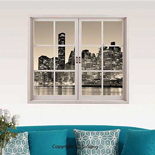 New York Removable Wall Sticker/Wall Mural,Manhattan Skyline at Night East River Panoramic Famous City Urban Life in USA Decorative Creative Close Window View Wall Decor,24