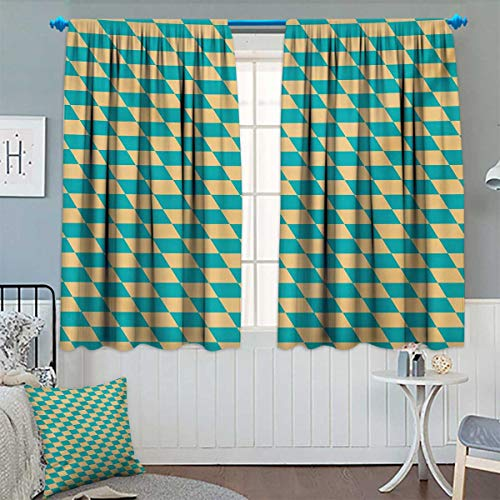 Chaneyhouse Geometric Blackout Window Curtain Art Deco Style Chess Table Dart Like Horizontal Vintage Image Customized Curtains 55