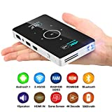 Pocket Projector,Android 7.1 Wireless Bluetooth WiFi Projector,50ANSI 1080P DLP Portable Video Projectors Support