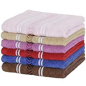 Urban Hues Rich Cotton 6 Pcs 500 GSM Rectangular 12x12 inch Face Towel Set (Multi)(Assorted)