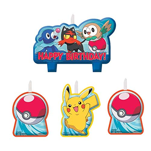 Party Pail 4 Count Pokemon Birthday Candle Set, Multicolor