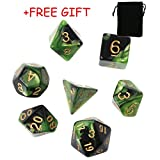 7 d free game - Lulujan DND Polyhedral Dice Set D&D for Dungeons and Dragons TRPG MTG Board Games Dice with FREE Pouch (7-Die, Green & Black)