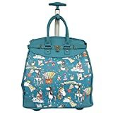 Magical Castel Unicorn Motif Carry On Rolling Foldable Laptop Tote, Softside Graphic Rainbow Animals Horses Theme, Multi Compartment, Fashionable, Checkpoint Friendly Soft Travel Bag, Teal, Size 14''