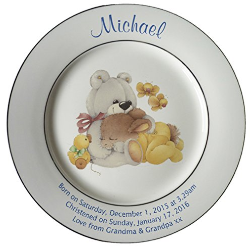 Personalized Birth Plate with 2 Gold Bands - Yellow Sleepytime Design