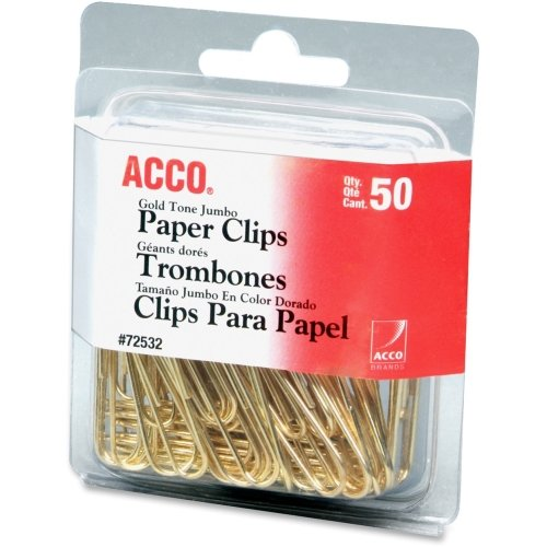 New Acco Gold Tone Paper Clips - Jumbo - 50 / Pack - Gold hot sale