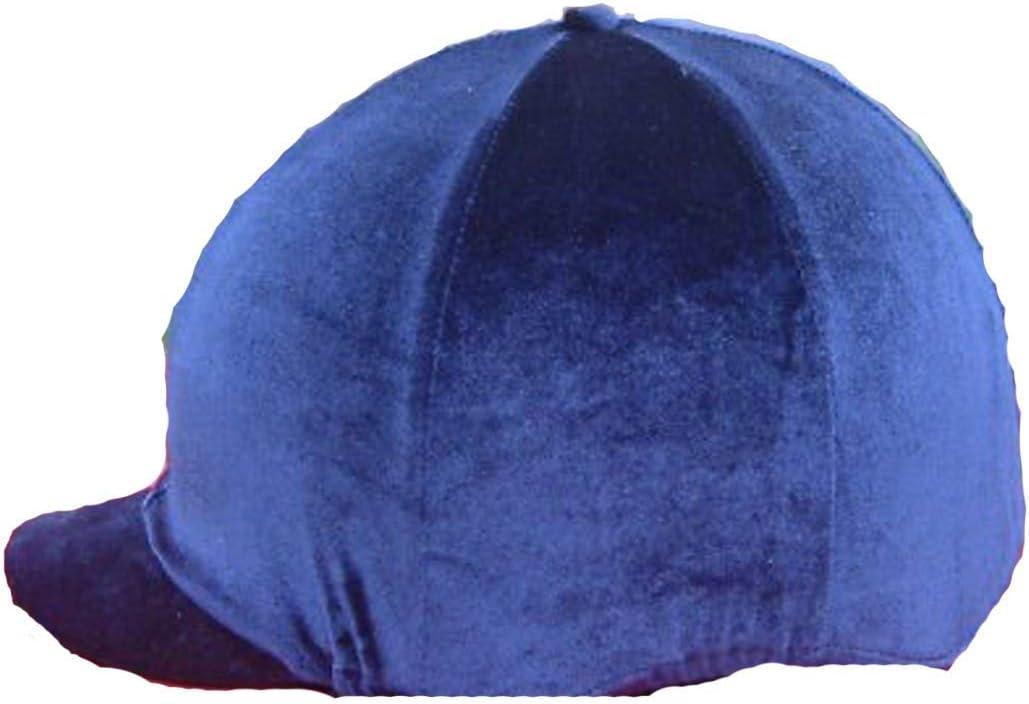 乗馬馬用帽子カバー、ネイビーブルーベルベットティーン