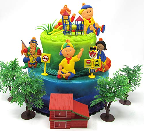 Caillou Birthday Cake Topper Set Featuring Caillou and Friends with Decorative Themed Accessories