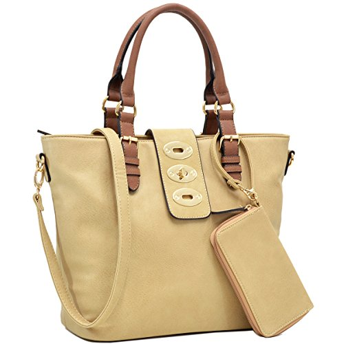 (Dasein Womens Large Twist Lock Tote Shoulder Bag Top Handle Handbag Purse (FN6717- beige))