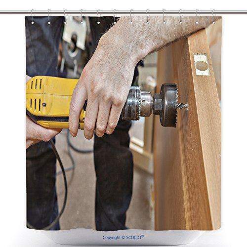 vanfan-Durable Shower Curtains Door Installation Hands Carpenter Holding Yellow Power Drill With Wood Hole Saw Drill Bit Polyester Bathroom Shower Curtain Set With Hooks(60 x 78 inches)