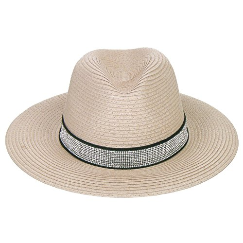 Fedora Rhinestone (Something Special Rhinestone Band Adjustable Bling Bling Paper Straw Fedora Hat - Pink)