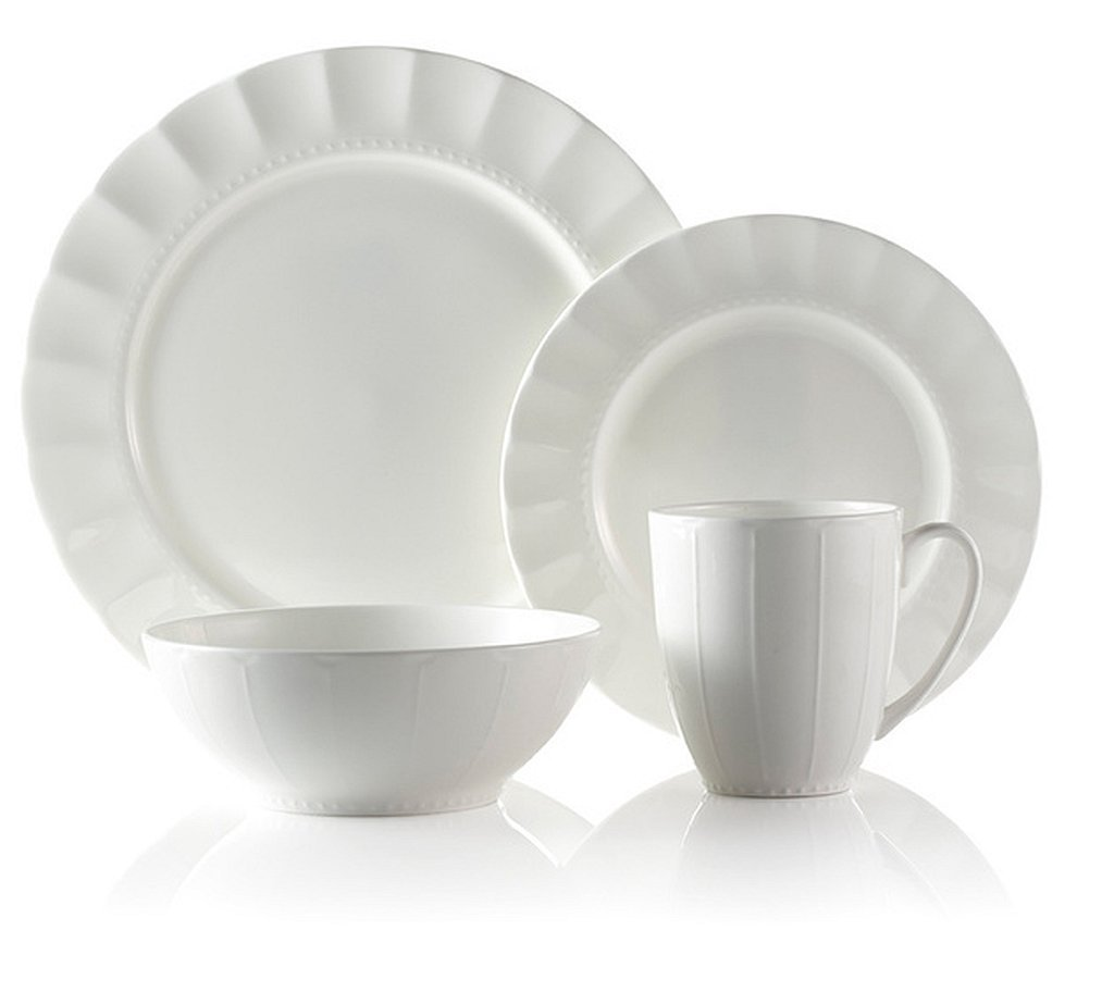 Christmas Tablescape Décor - White Symphony bone china 32-pc formal dinnerware set - Service for 8 by Roscher Dinnerware Sets