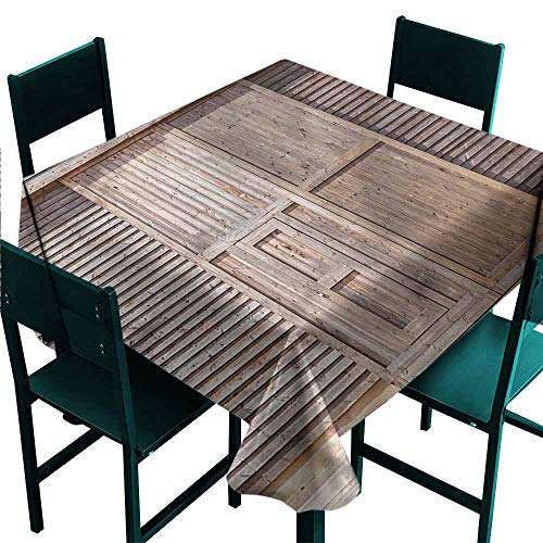 (DONEECKL Wrinkle Resistant Tablecloth Industrial Old Wooden Timber Great for Buffet Table W60 xL60)
