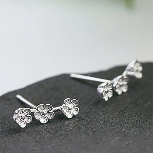 - Peach Sterling Silver Earrings earings Dangler Eardrop Women Girls Elegant Sweet Flowers Creative Gift Ear Jewelry Gift Korean Women Tide