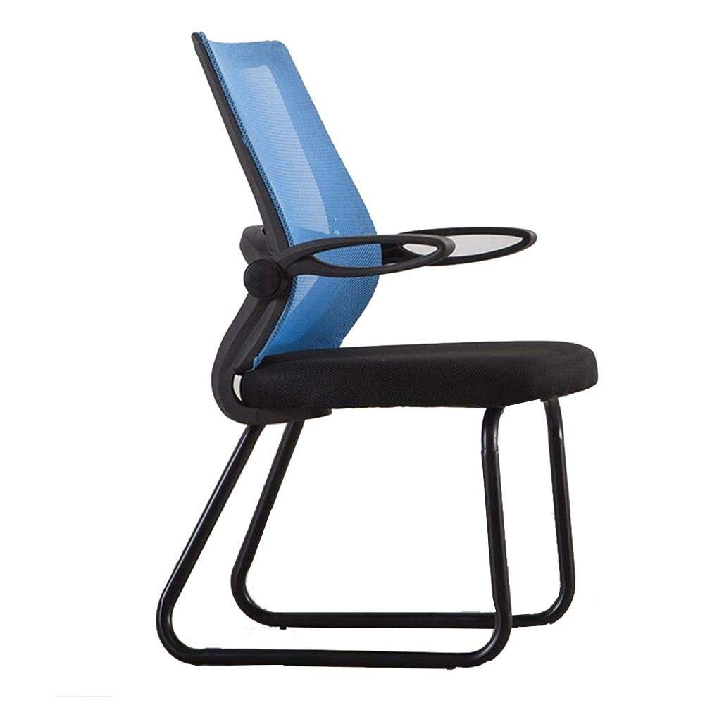 Dall Office Chair Rotating Handrail Bow-Shape Meeting Chair Mesh Chair Breathable Steel Base Ergonomic Desk Chair (Color : Blue, Size : Black Frame)