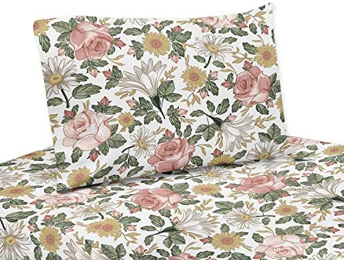Sweet Jojo Designs Vintage Floral Boho Queen Sheet Set 4 Piece Set Blush Pink Yellow Green And White Shabby Chic Rose Flower Farmhouse Home Kitchen Amazon Com