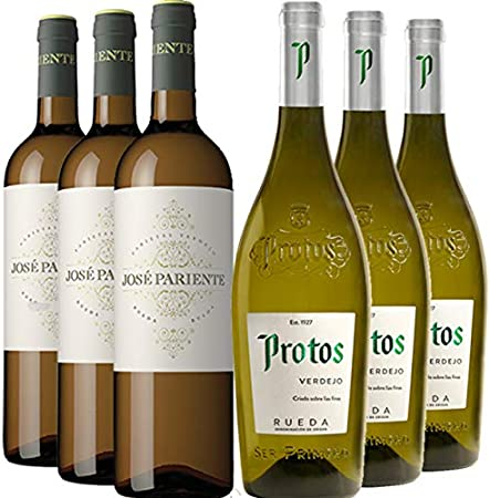 Vino Blanco Verdejo de Rueda - Pack_3 bot José Pariente Verdejo 3 bot Protos Verdejo - Caja 6 botellas 100% Verdejo Vino blanco de Rueda