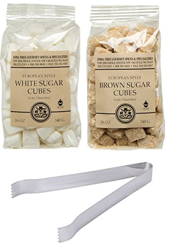 Rough Cut Raw Brown and White Sugar Cubes for Coffee, Tea, and Cocktails. Made from Natural Granulated Cane Sugar Lumps.  Also Comes with Sugar Tong.