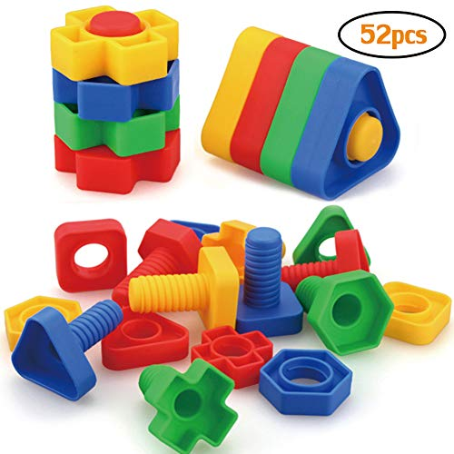 Jumbo Nuts and Bolts Toys 52Psc for Toddlers Preschoolers Kids, STEM Educational Montessori Building Construction Screw Matching Activities for 3,4,5 Year Old Boy and Girl. -