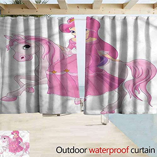 (MaryMunger Balcony Curtains Princess Gril on a Horse Pink Dress Draft Blocking Draperies W72x45L Inches)