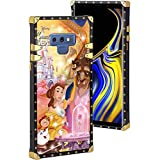 DISNEY COLLECTION Square Edge Case Cover Compatible with Galaxy Note 9 (2018) (6.4inch) Beauty and The Beast Couple
